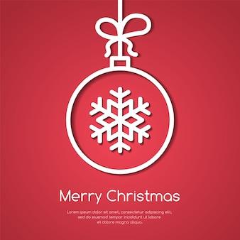 Weihnachts- und des neuen jahresfahne mit linie dekorativer baumball mit schneeflocke auf rotem backgro