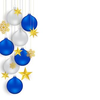Weihnachts- und des neuen jahreshintergrund mit silbernem und blauem ball