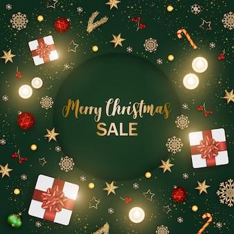 Weihnachts- und fahnengeschenkboxen mit dekoration und verzierungen