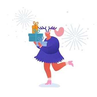Weihnachts- und frohes neues jahr-grußkarte mit tanzenden personencharakteren mit 2020-jahr. frau mit girfts, feier, party, winterferien. für postkarte, plakat, einladung