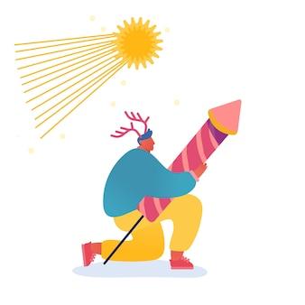 Weihnachts- und frohes neues jahr-grußkarte mit tanzenden personencharakteren mit 2020-jahr. mann mit feuerwerk, feier, party, winterferien. für postkarte, plakat, einladung