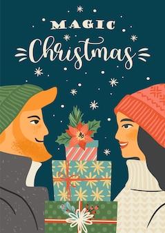 Weihnachts- und frohes neues jahr illustration des jungen mannes und der jungen frau mit weihnachtsgeschenken. trendiger retro-stil.