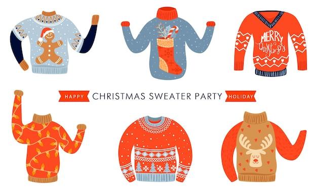 Weihnachts- und guten rutsch ins neue jahr-einladungsschablone auf hässlicher pulloverparty