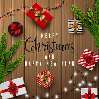 Weihnachts- und guten rutsch ins neue jahr-grußkarte zusammensetzung von elementen mit weihnachtsdekorationen.
