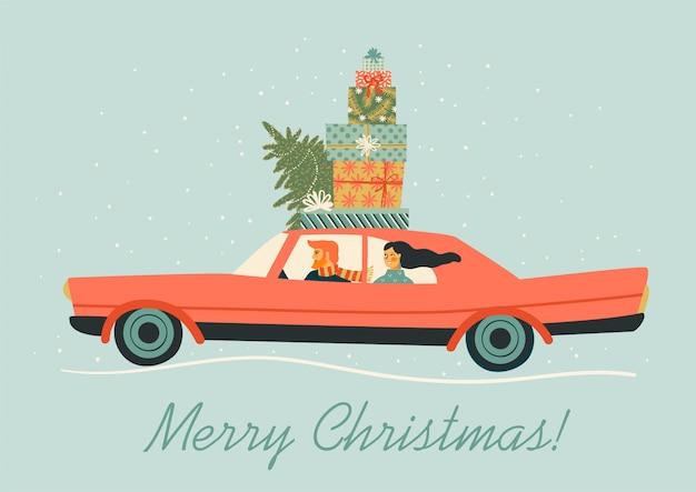 Weihnachts- und guten rutsch ins neue jahr-illustration.