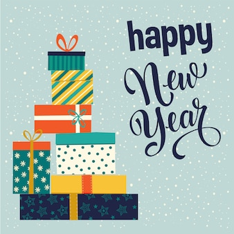 Weihnachts- und happy new year-geschenkboxen. vektor-illustration
