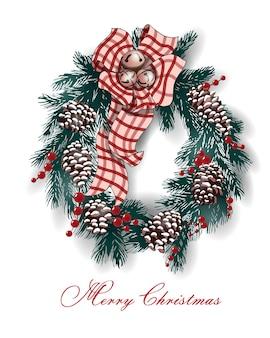 Weihnachts- und neujahrs-grußkarte mit weihnachtskranz. vektor-vorlage.