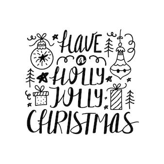 Weihnachts- und neujahrs-kalligraphie-satz