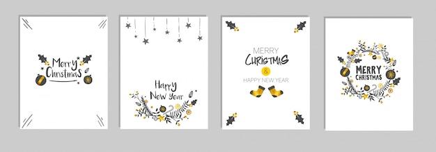Weihnachts- und neujahrs-vorlagen-karten-set