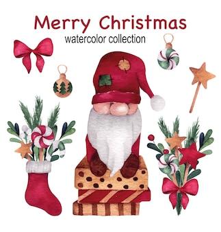 Weihnachts- und neujahrsaquarell-set