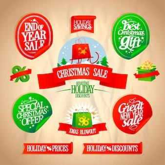 Weihnachts- und neujahrsaufkleber gesetzt