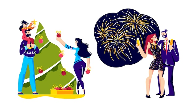 Weihnachts- und neujahrsfeierillustration