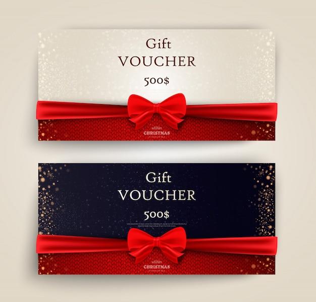 Weihnachts- und neujahrsgeschenkgutschein, rabatt-gutschein-vorlage