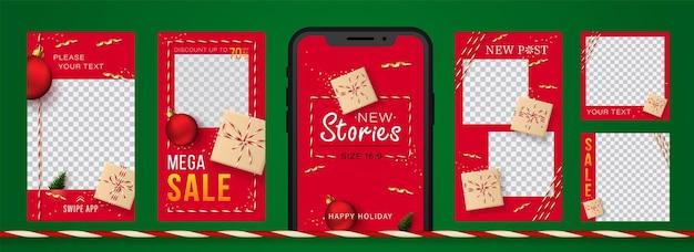 Weihnachts- und neujahrsgeschichten set für soziale netzwerke