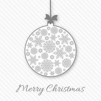 Weihnachts- und neujahrsgruß, einladungskarte mit weihnachtsschneeflockenball. weiße und graue farben, dekorativer vintage-stil. vektor-illustration.
