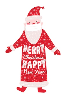 Weihnachts- und neujahrsgrußkarte mit anta in einer medizinischen maske.