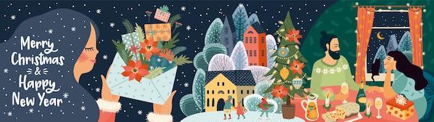 Weihnachts- und neujahrsgrußkarte mit illustration. trendiger retro-stil.