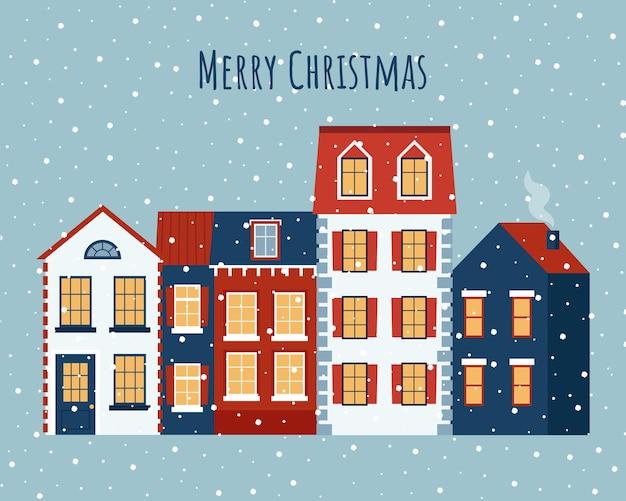 Weihnachts- und neujahrsgrußkarte mit netten häusern und schneehintergrund-flache vektorillustration