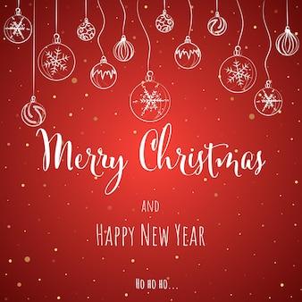 Weihnachts- und neujahrsgrußkarte mit rotem hintergrund mit schriftzug vector illustration