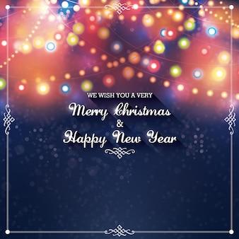Weihnachts- und neujahrsgrußkarte mit stilvollen dekorativen schneeflocken und weihnachtsbeleuchtung