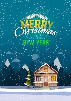 Weihnachts- und neujahrsgrußkarte. süßes familienhaus zwischen bergen. winter