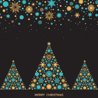 Weihnachts- und neujahrsgrußkarte. weihnachtsbaum mit goldenen schneeflocken. vektorschwarzer hintergrund.