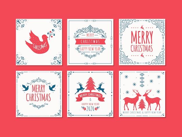 Weihnachts- und neujahrsgrußkartensatz