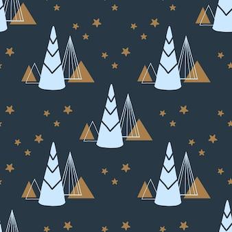 Weihnachts- und neujahrsmuster nahtloses sich wiederholendes einfaches flaches muster mit weihnachtsbaum und sternen