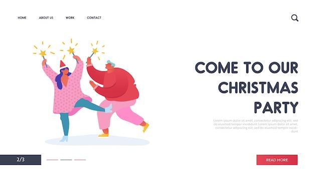 Weihnachts- und neujahrsparty mit personencharakteren mit 2020-jahr für webdesign, banner, mobile app, landingpage. frau und mann mit feuerwerksfeiertagen.