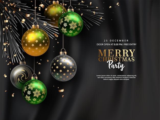 Weihnachts- und neujahrsparty mit weihnachtskugeln mit seidenhintergrund