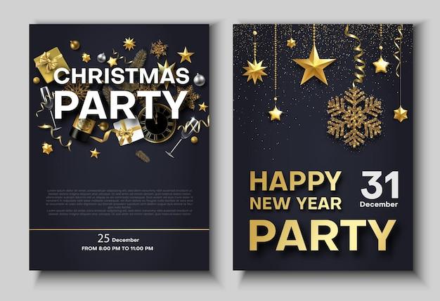 Weihnachts- und neujahrsparty-poster oder einladung mit uhr champagner und weihnachtsschmuck set von vorlagen mit platz für text vektorhintergrund