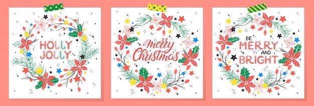 Weihnachts- und neujahrstypografie. satz von feiertagskarten mit grüßen, kränzen und sternen. jahreszeitgrüße, die für drucke, flyer, karten, einladungen und mehr perfekt sind. vektorfeiertagsillustrationen.