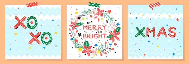 Weihnachts- und neujahrstypografie. satz von feiertagskarten mit grüßen, kranz, schneeflocken.