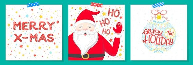 Weihnachts- und neujahrstypografieset von feiertagskarten mit grüßen