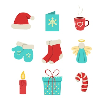 Weihnachts- und neujahrsvektorelemente stellten winterzubehör für feiertagsdekoration ein