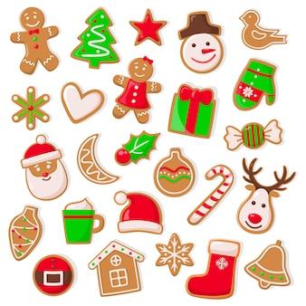 Weihnachts- und weihnachtsdesign des plätzchen-satzes