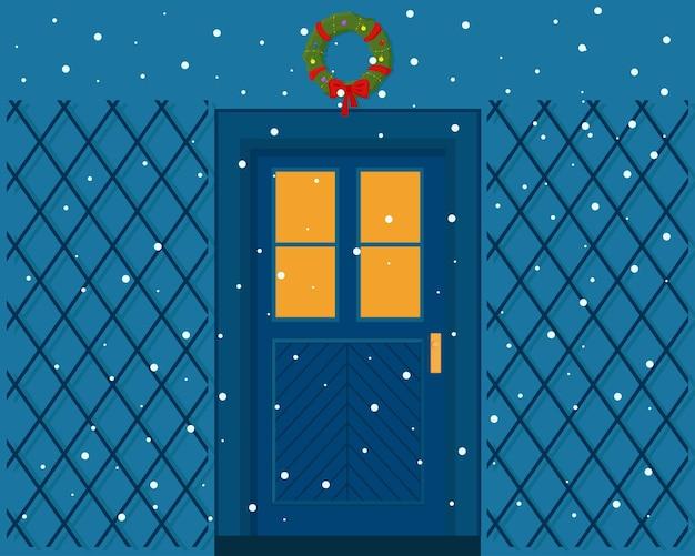 Weihnachts- und winterferien-haustürdekorationen in der nacht flache vektorillustration