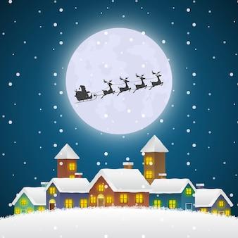 Weihnachts-weihnachtsmann, der auf einem schlitten über dem winterdorf mit vollmond fliegt. frohe weihnachten und ein gutes neues jahr hintergrund für gruß oder postkarte