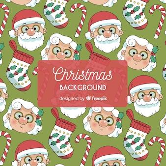 Weihnachts-weihnachtsmann frau claus-musterhintergrund
