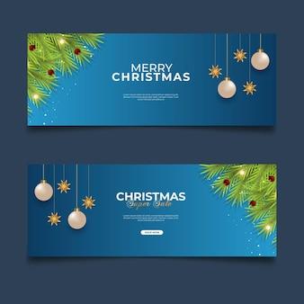 Weihnachtsabdeckung verkaufsposten mit blauem hintergrund tannenzweig und weihnachtskugel