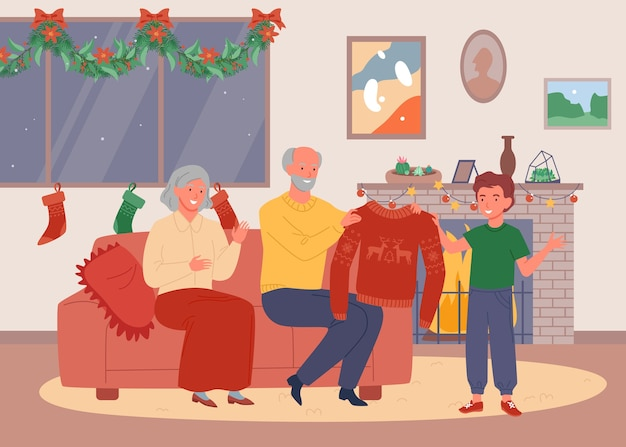 Weihnachtsabend bei den großeltern zu hause. glückliche süße großmutter und großvater geben einen hässlichen pullover.