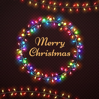 Weihnachtsabstrakte vektorkarte mit weihnachtslichtrahmen. girlandenweihnachtsglühen in der runden rahmenillustration