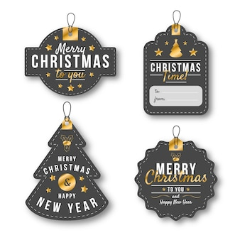 Weihnachtsabzeichen-sammlung im flachen design