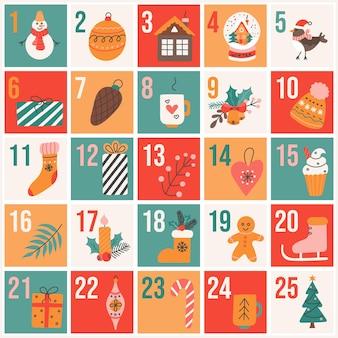 Weihnachtsadventskalender im flachen handgezeichneten stil, festliches vektorplakat
