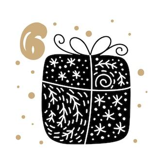 Weihnachtsadventskalender mit süßem skandinavischen handgezeichneten vektor 24 tage vor weihnachten