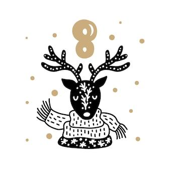 Weihnachtsadventskalender mit süßem skandinavischen handgezeichneten vektor 24 tage vorher.