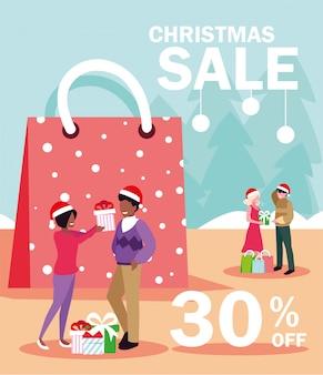 Weihnachtsaktionen und rabatte, winterschlussverkauf