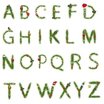 Weihnachtsalphabet mit farbverlaufsnetz, illustration