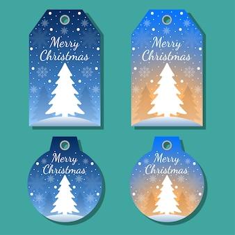 Weihnachtsanhänger setzen grußelemente auf buntem hintergrund. weihnachtshintergrund.