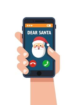 Weihnachtsanruf vom weihnachtsmann. handy bildschirm. grußkarten im urlaubsdesign